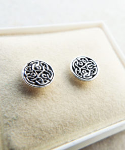 Celtic Earrings Studs Silver Handmade Sterling 925 Gothic Dark Jewelry