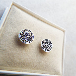 Celtic Earrings Studs Silver Handmade Sterling 925 Gothic Dark Jewelry