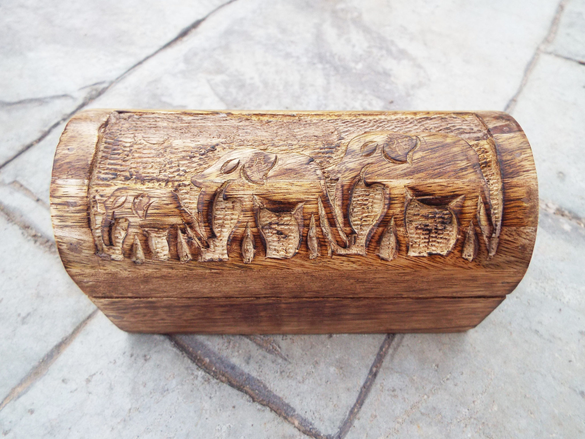 Elephant Box Indian Balinese Hindu Ganesha Mango Tree Wood Handmade Carved Animal Symbol Trinket Jewelry Chest