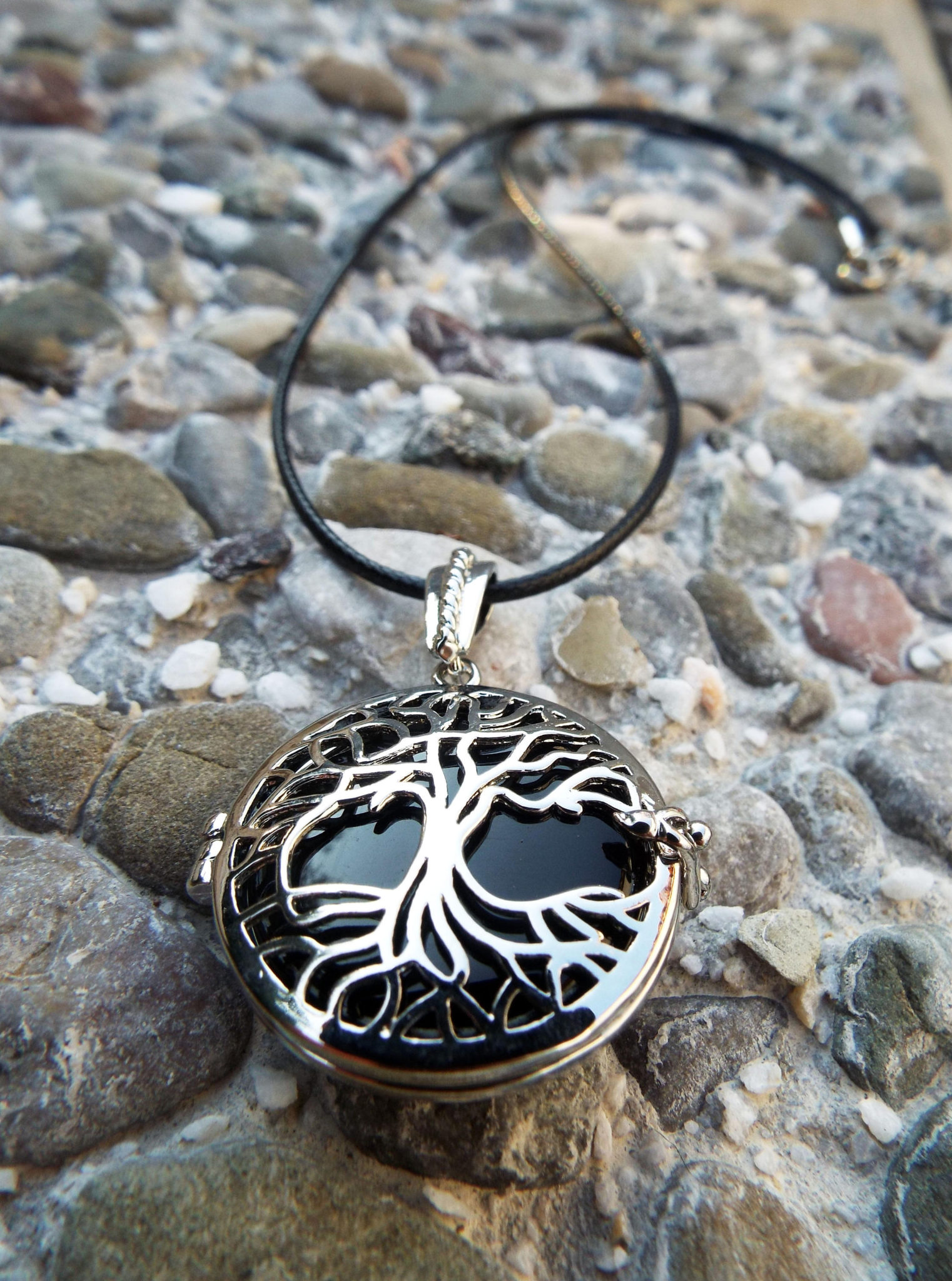 Onyx Pendant Tree of Life Silver Handmade Necklace Black Gemstone Jewelry