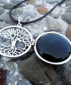 Onyx Pendant Tree of Life Silver Handmade Necklace Black Gemstone Jewelry