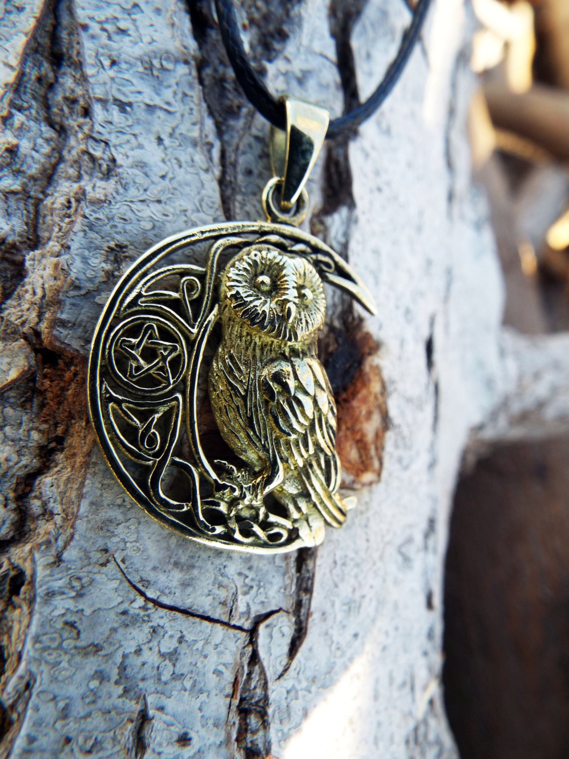 moon magic jewelry owl pendant bronze moon pentagram handmade necklace wisdom 6060