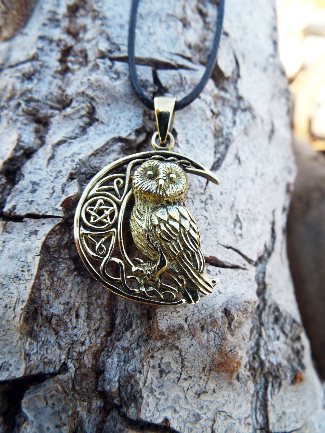 moon magic jewelry owl pendant bronze moon pentagram handmade necklace wisdom 9576
