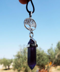 Pendulum Amethyst Pendant Tree of Life Gemstone Pointer Silver Necklace Handmade Jewelry