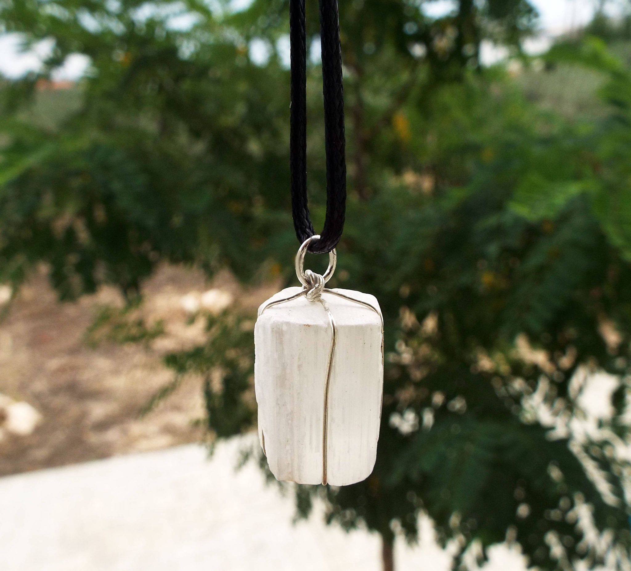 Selenite Pendant Gemstone Silver Rough Crystal Sterling 925 Handmade Necklace Natural Faceted  Jewelry