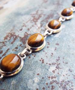 Tiger's Eye Bracelet Silver Cuff Handmade Sterling 925 Bohemian Stone Gothic Jewelry