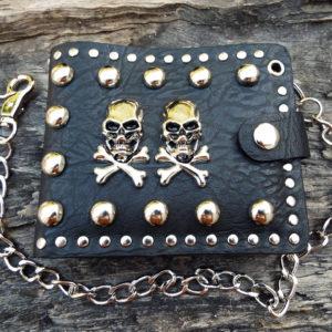 Wallet Purse Vegan Leather Handmade Skull Symbol Black Gothic Dark Chain Pouch Case Cruelty Free