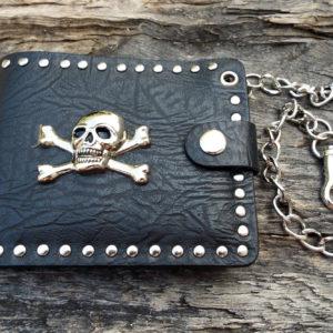 Wallet Purse Vegan Leather Handmade Skull Symbol Gothic Dark Chain Pouch Case Cruelty Free