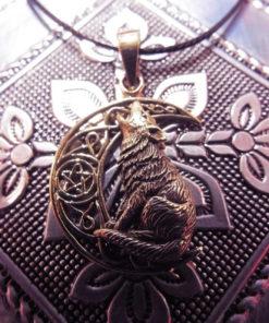 Wolf Pendant Moon Pentagram Bronze Handmade Necklace Gothic Dark Magic Celtic Wiccan Jewelry