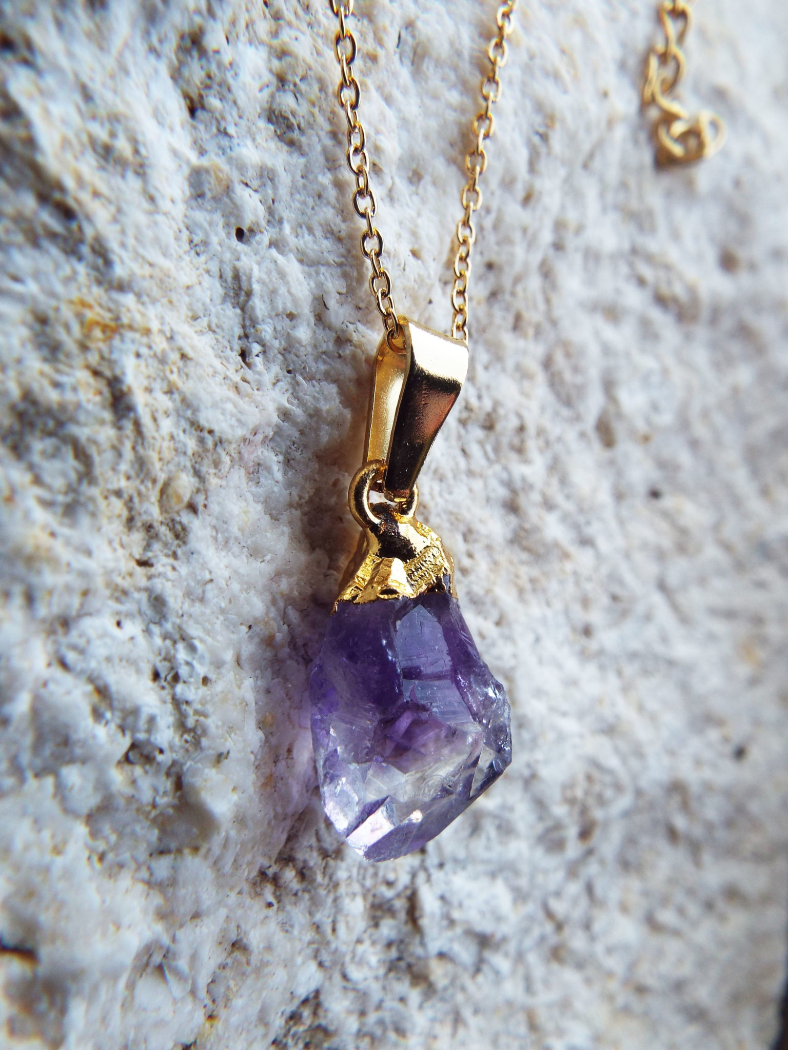 chain slice jewelry raw amethyst geode quartz natural pendant necklaces purple crystal gold