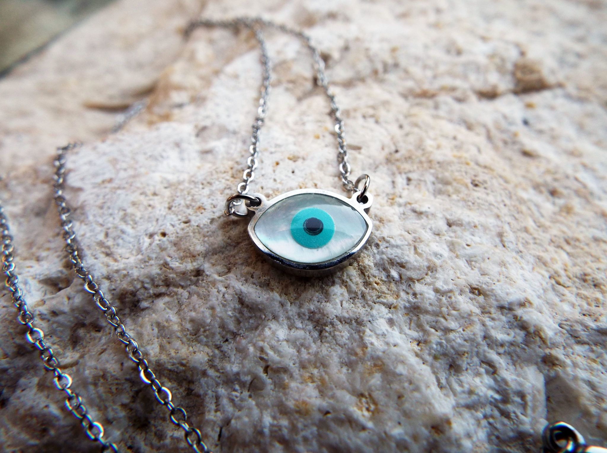 pendant sapphire jewelry silver pfs evileye luck necklace evil good bling blue eye colored cz