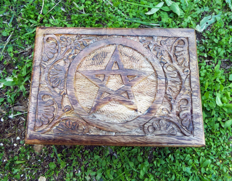 Pentagram Box Wooden Symbol Handmade Carved Celtic Wiccan Star Chest